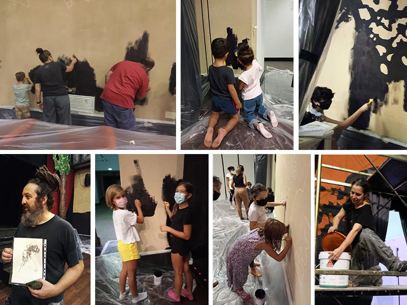 mix foto di persone che dipingono le pareti del teatro
