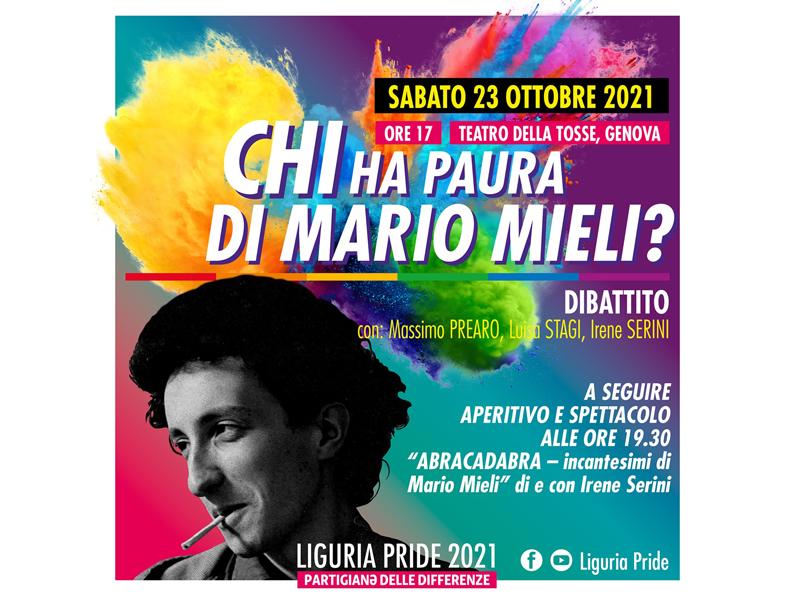 foto di Mario Mieli con sfondo rainbow
