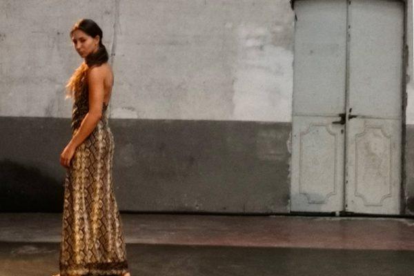 una ragazza (la danzatrice) è in piedi con un abito lungo. La performance si svolge in uno spazio interno, sullo sfondo un muro e una porta che mostrano i segni del tempo.